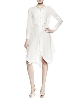 Nina Ricci Long-Sleeve Ruffled Voile Shirtdress