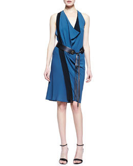 Donna Karan Leather-Belted Crepe Scarf Dress