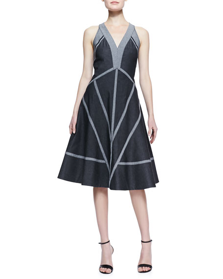 Denim Dress with Exposed Seams