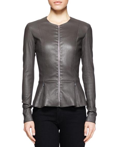 Anasta Leather Peplum Jacket, Charcoal