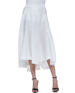 Donna Karan Linen-Silk Skirt with Jersey Waist