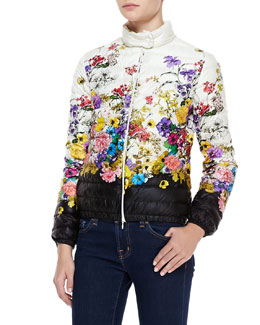 Moncler Short Floral-Print Puffer Coat, White/Black/Multi