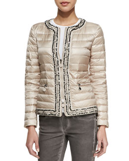 Moncler Zip Long-Sleeve Puffer Jacket with Studs