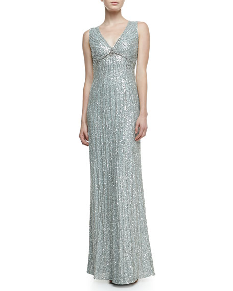 V-Neck Shimmery Beaded Gown, Chalk Blue