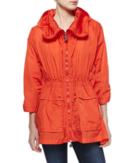 Moncler Nylon Hooded Zip Jacket, Orange