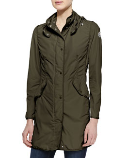 Moncler Long Snap-Front Jacket, Olive