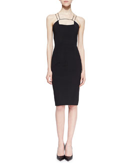 Cushnie et Ochs Power Viscose Cutout-Neck Sheath Dress, Black