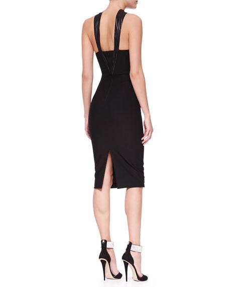 Oscar Leather-Halter Jersey & Chiffon Sheath Dress