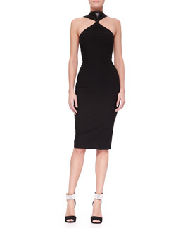 Cushnie et Ochs Oscar Leather-Halter Jersey & Chiffon Sheath Dress