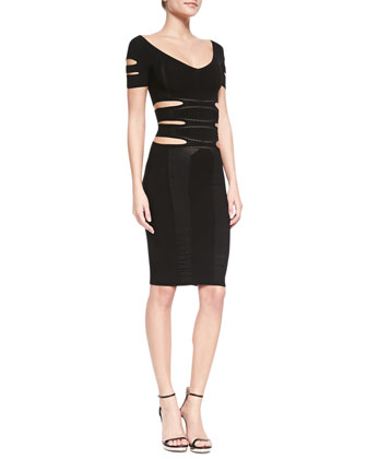 Cutout Knit Sheath Dress, Black
