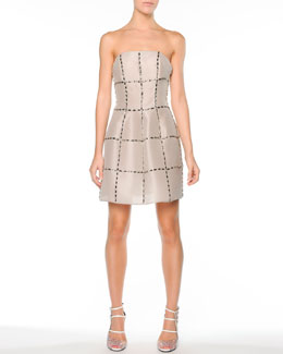 Fendi Strapless Crystal-Grid Silk Cocktail Dress, Ivory