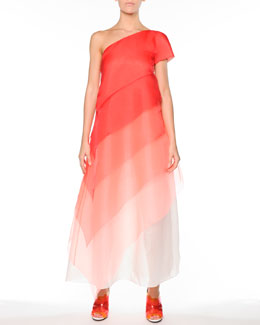Fendi Ombre Tiered Silk One-Shoulder Gown, Red/Multi