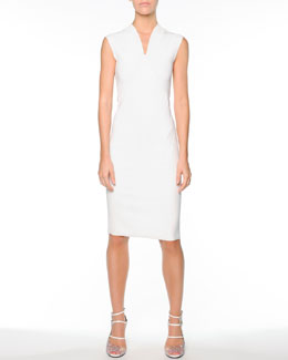 Fendi V-Neck Seamed Knit Dress, White