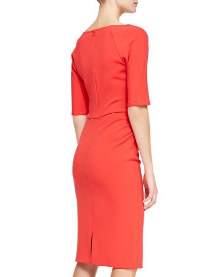 Deedie 3/4-Sleeve Side Ruched Dress, Persimmon