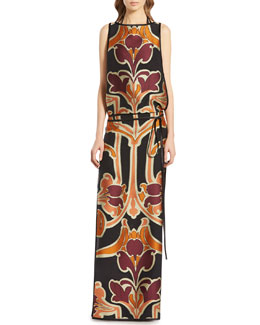 Gucci Nouveau Art Flower Jacquard Gown, Rust Purple