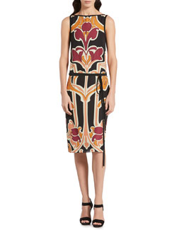 Gucci Art Nouveau Flower Print Silk Dress