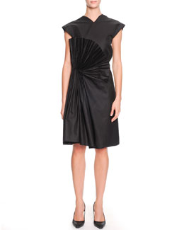Bottega Veneta Cap-Sleeve Fan-Embellished Dress, Nero Black