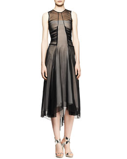 Reed Krakoff Sleeveless Sheer Ruched High-Low Dress
