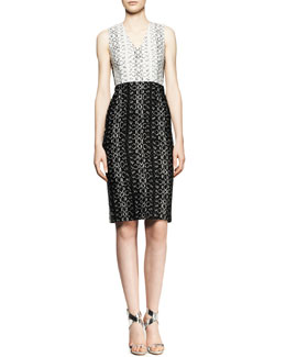 Reed Krakoff Sleeveless Paneled Viper-Print Dress