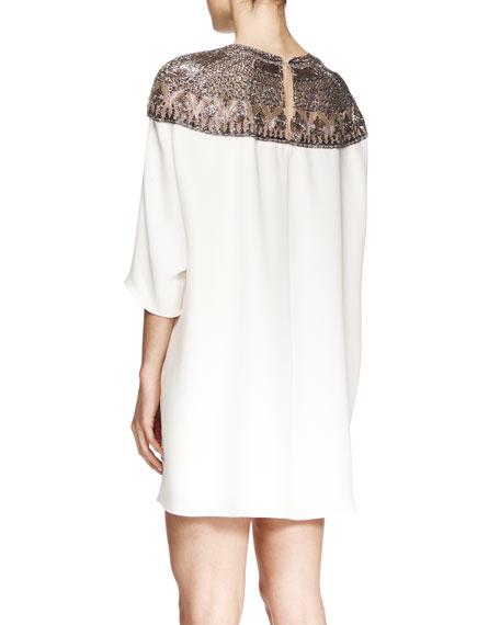 Embroidered-Yoke Shift Dress