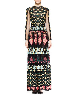 Valentino Multi-Embroidered Long-Sleeve Gown