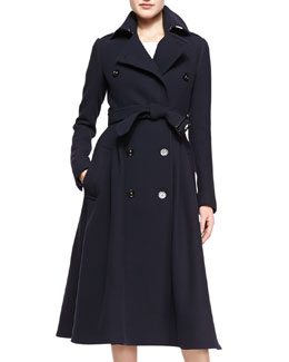 Burberry Prorsum Double-Breasted A-Line Midi Coat, Deep Navy