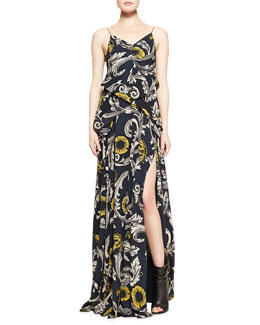 Burberry Prorsum Scroll and Floral Printed Evening Gown, Midnight Blue