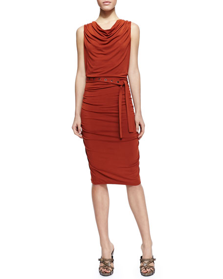 Sleeveless Self-Belted Ruched Jersey Dress