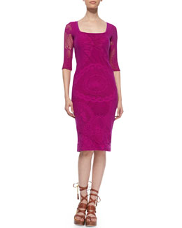 3/4-Sleeve Lace Sheath Dress, Magenta