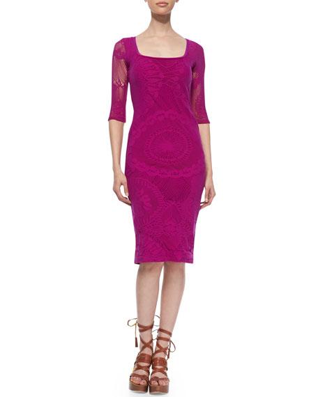 3/4-Sleeve Lace Sheath Dress, Magenta
