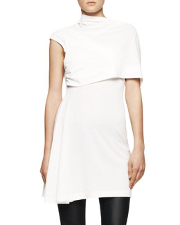 Rick Owens One-Shoulder Fold-Front Tunic