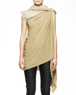 Rick Owens Long Draped Toga Tunic with Hood