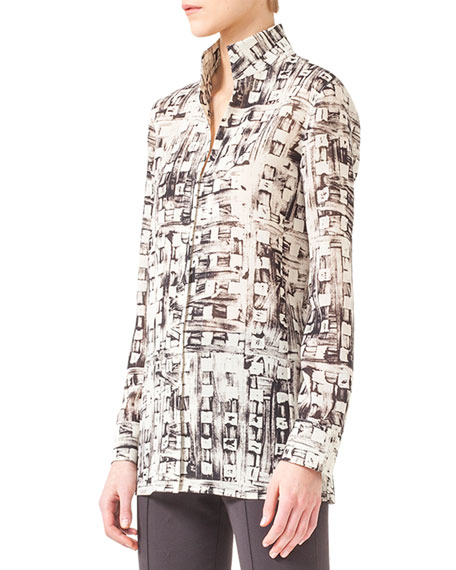 Abstract-Print Mock-Neck Tunic