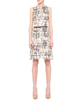 Akris Abstract-Print Belted Shift Dress