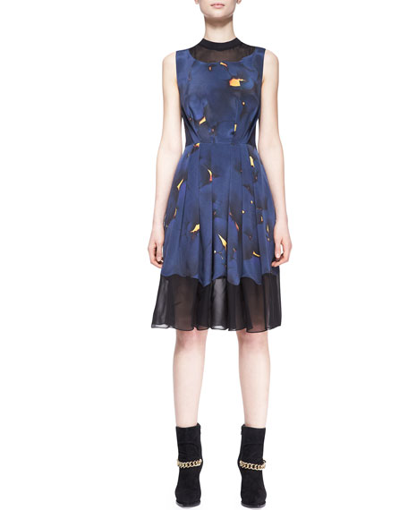 Pleated Mesh-Inset Printed Dress