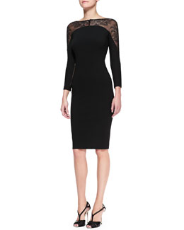 Carolina Herrera Lace-Panel Sheath Dress