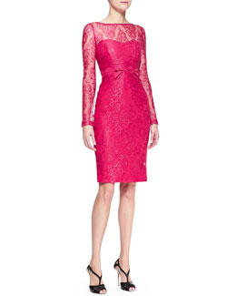 Carolina Herrera Long-Sleeve Bow-Waist Lace Sheath Dress