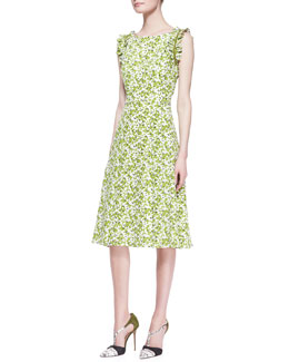 Carolina Herrera Printed Ruffle-Shoulder Silk Dress