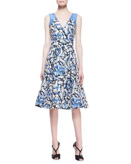 Carolina Herrera Sleeveless Feathered-Floral Dress