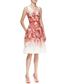 Carolina Herrera Full-Skirt Printed A-Line Dress