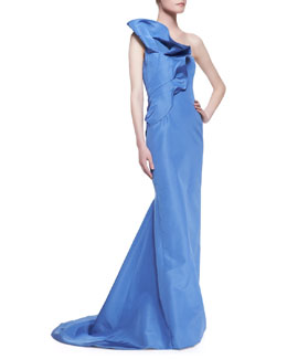 Carolina Herrera Strapless Ruffle-Shoulder Bee Gown