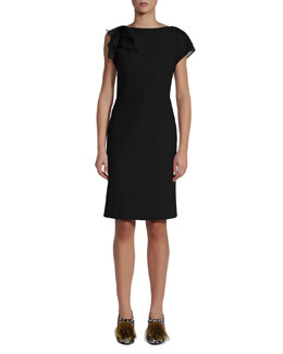 Fendi Organza Layer One-Side Cap-Sleeve Dress, Black