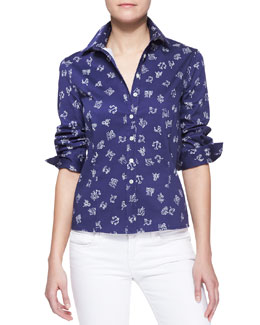 Carolina Herrera Zodiac Printed Button-Down Blouse