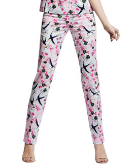 Carolina Herrera Love Letters Straight-Leg Pants