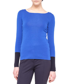 Akris punto Contrast-Cuff Wool Knit Sweater