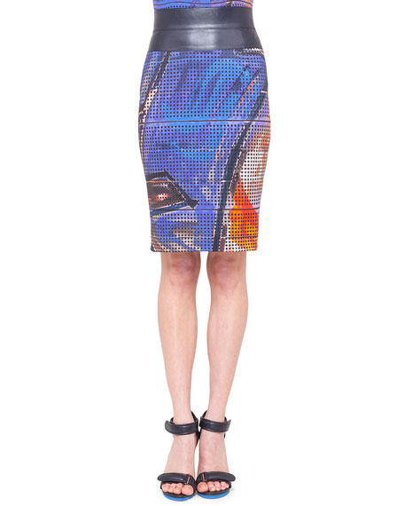 Graffiti-Print Pencil Skirt