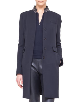 Akris punto Embellished-Collar Button Coat