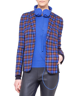 Akris punto Paneled Check Wool Snap Jacket