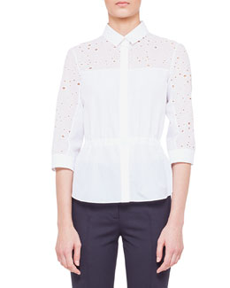 Akris punto Circle-Embroidered Drawstring Blouse