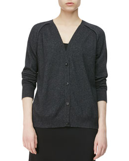 Alexander Wang Peel-Seamed Cashmere Cardigan, Erosion Gray